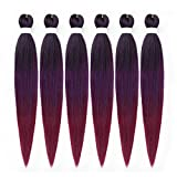 6Packs/Lot 26Inch EZ Braids Professional Pre Streched Braiding Hair Hot Water Setting Synthetic Fiber Easy Braids Hair Colors Ombre Crochet Braids Hair Extensions (Black/Purple/Red)