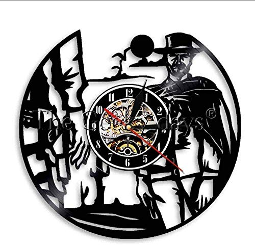 BBNNN Western World Shadow Cowboy Reloj de Pared Retro Western Ideas Decoración Reloj de Pared Reloj de 12 Pulgadas