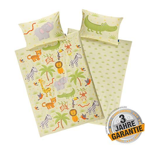 Aminata Kids Kinderbettwäsche Dschungel-Tiere 100 x 135 cm + 40 x 60 cm, Baumwolle mit Reißverschluss, unser Kinder-Bettwäsche-Set mit Safari-Motiv Zoo-Tiere ist bunt, gelb, Giraffe, Elefant, Löwe
