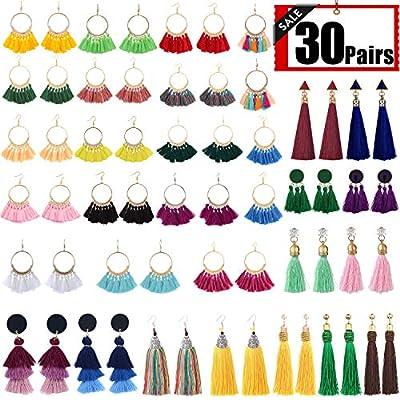 XPCARE 30 Pairs Colorful Tassel Earrings Tassel Long Layered Thread Drop Earrings Bohemian Tassel Earrings Gift Set for Girls Women
