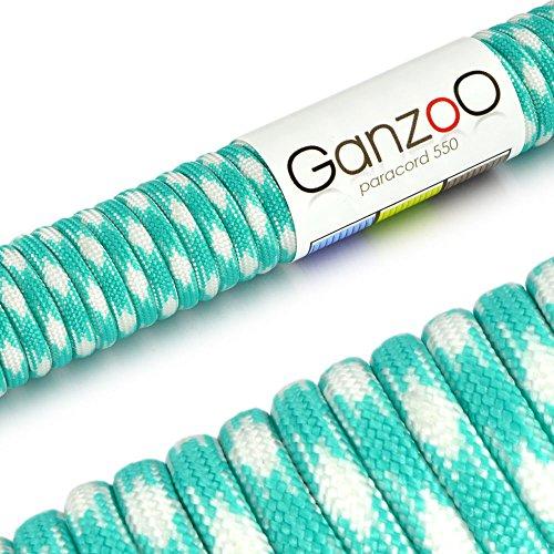 Ganzoo Corde de Parachute indéchirable paracorde 550 (Manteau noyau en corde en nylon), 550lbs, longueur totale 31 m (100 ft) couleur : turquoise/blanc – Ganzoo
