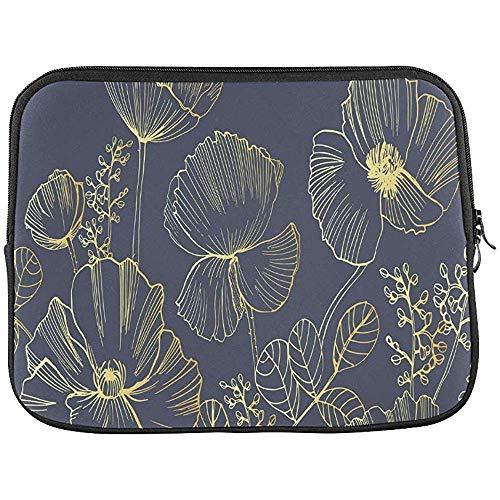 Elegante natuurlijke vierkante achtergrond met papaver bloemen mouw zachte laptop tas tas tas