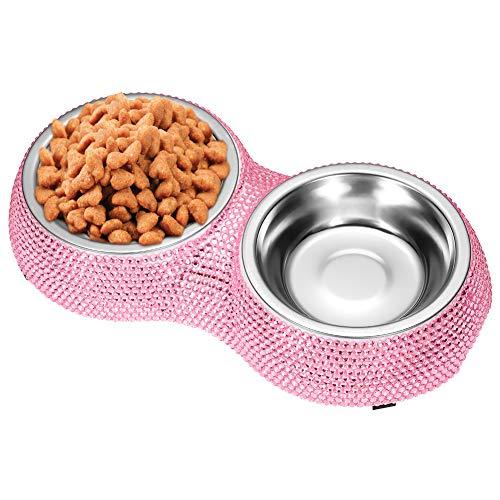 Ohok Cane Ciotole, Scintillanti Strass di Cristallo del Cane Ciotole di Cristallo del Cane Ciotole dell'animale Domestico dell'Acciaio Inossidabile per i Gatti dei Cani del Cucciolo (Doppio,Rosa)