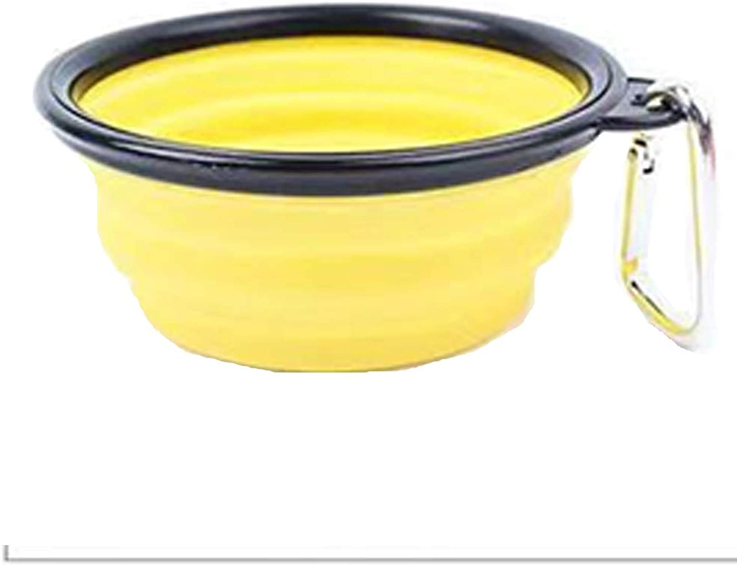 Foldable color Dog Bowl Silicone Folding Silicone Pet Bowl Out Portable Pet Lunch Box Durable NonToxic Safety Health Feeder,Yellow