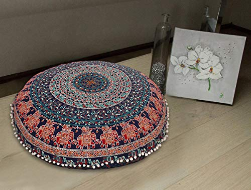 Radhykrishnafashions Indian 32' Large Hippie Mandala Floor Pillow Cover Cushion Cover Round Bohemian Yoga Decor Floor Cushion Case (Blue)