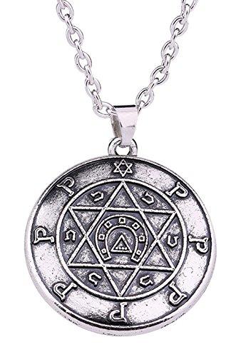 Collana con Sigillo di Salomone, amuleto portafortuna con Stella di David e ferro di cavallo, stile gotico vintage, cabala, per uomo e donna