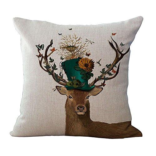 Hengjiang WEIANG Deer Sofa Cushion Cover Home Pillowcase Soft Decorative Pillow Cover Elk (05)