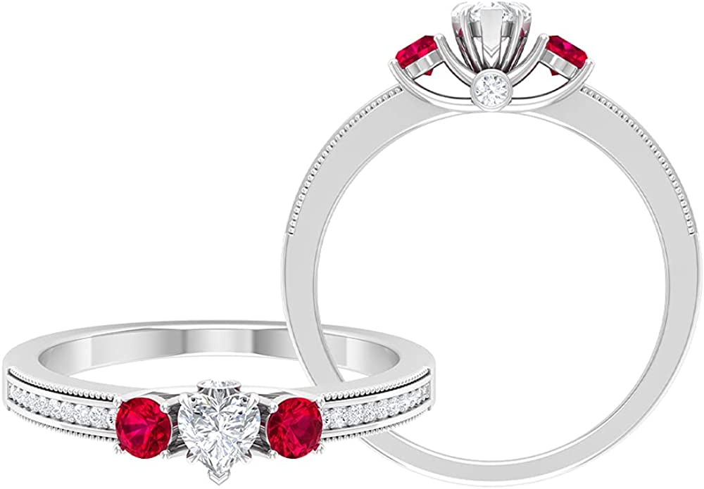 3 4 Luxury goods CT Three Stone Anniversary Created Choice Ring Diamond and Rub with
