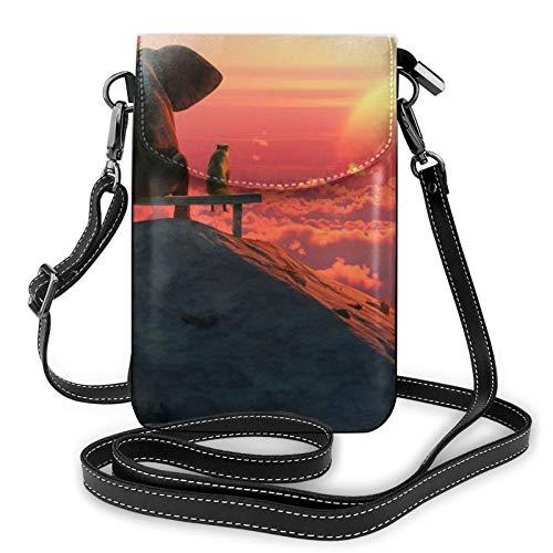Bolso de cuero ligero para teléfono celular, elefante y perro reloj The Sunset Small Crossbody Bag bolsa de hombro cartera Pounch bolso para mujer, color Negro, talla Talla única