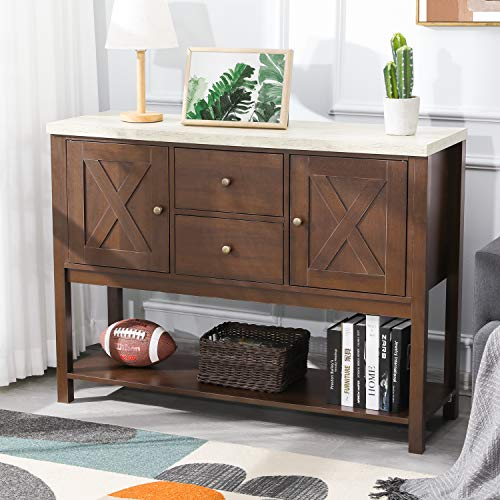 Itaar Buffet Sideboard, Rustic Buffet Table with Storage Cabinet and Bottom Shelf, Console Table with Drawers, Living Room Kitchen Dining Room Furniture