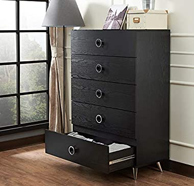 HABITRIO Storage Chest, 5 Storage Drawers Rectangular Chest, Solid Wood Structure w/Silver Finished Plastic Tapered Legs Clot