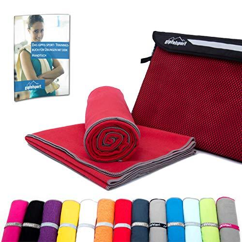Mikrofaser Handtuch Set - Microfaser Handtücher für Sauna, Fitness, Sport I Strandtuch, Sporthandtuch I Rot   L(140x70cm)