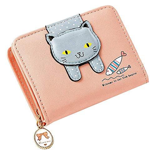 YUNVJIG Mädchen Geldbörse Kinder Geldbörsen Für Kleine Mädchen Nette Katze Geldbörse Kitty Muster Münzgeldbörse Klein,Pink