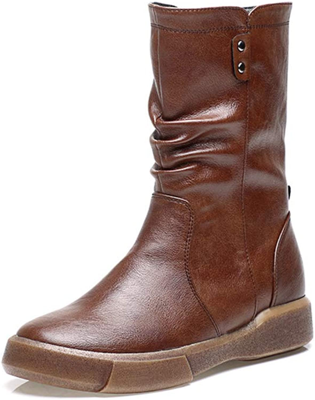 KAOKAOO Military Zipper Ankle Cuff Mid Heel Boots for Women