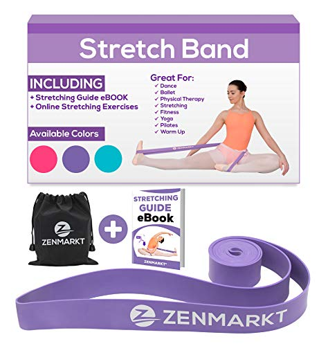 Stretch Bands for Dancers and Gymnasts - Exercise Bands for Dance, Ballet, Gymnastics, Cheerleading, Pilates Training Stretching Band Dance Stretch Bands for Flexibility Ballet Barre E-Book (Purple)