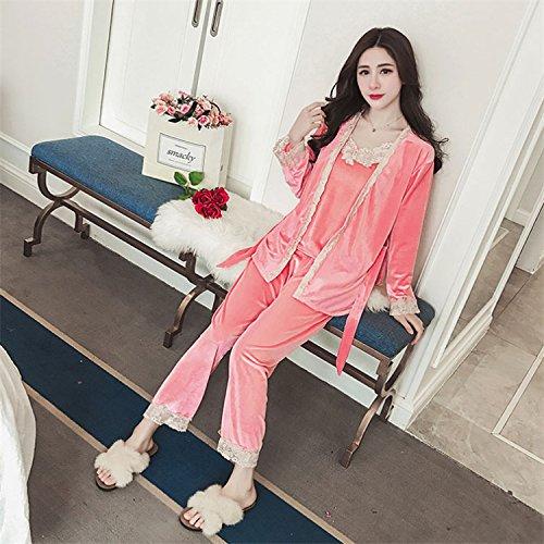 YI Herbst und Winter Samt Damen Pyjamas Dreiteilige Große Hosenträger Sexy Frauen 'Hause Service,Rosa,L