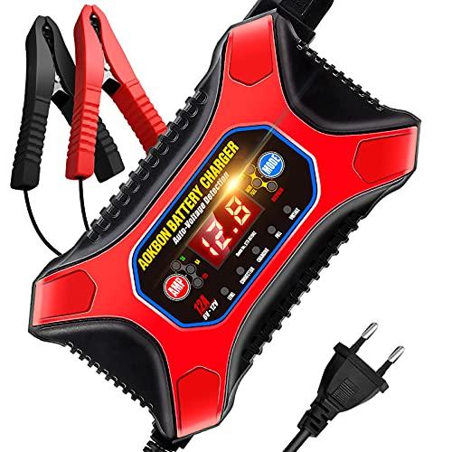 AOKBON Cargador de Batería Coche 6V/12V 12A Múltiples Modos de Carga Rápida con Pantalla LCD para Motos Automóviles Barco