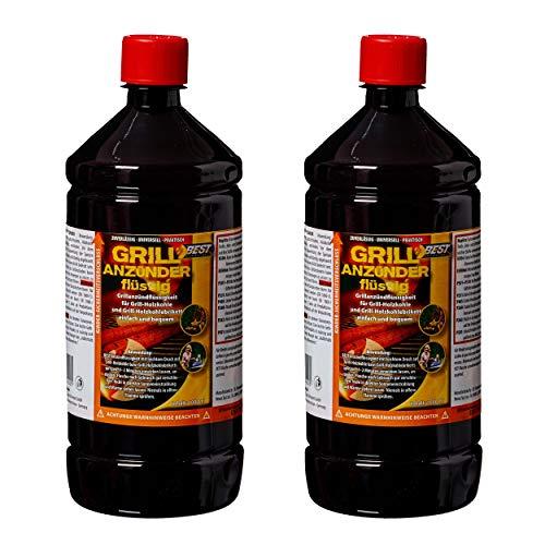 Best Sporting Encendedor líquido para barbacoa de carbón vegetal y briquetas, encendedor de seguridad, botella de 1 L (2 botellas)