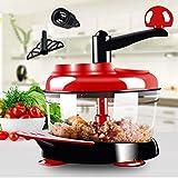 Hachoir à aliments grande capacité hachoir à aliments et noisettes 500ml-1.5l Cuisine multifonction robot de cuisine manuel hachoir à viande hachoir à légumes 1500ml rouge