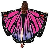 WOZOW Damen Schmetterling Schmetterlingsflügel Kostüm Faschingkostüme Poncho Schal Tuch Umhang für Party Cosplay Karneval Fasching (Heißes Rosa)