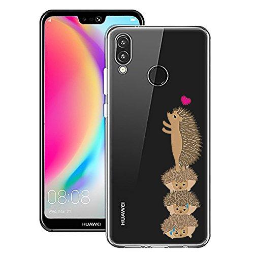 Caler Kompatibel mit/Ersatz für Huawei P20 lite Hülle TPU Silikon original Zeichen Bumper Crystal Transparent case extra farbig Glitzer Game klar komplett matt mit Muster Motiv (Igel)