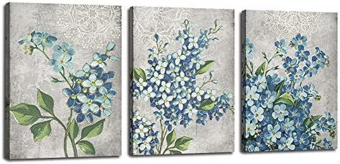 Arjun Flowers Canvas Wall Art Full Bloosm Painting Blue Florals Pictures Prints Retro Grey 16 product image