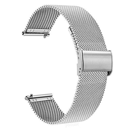 Yooside - Correa para Samsung Galaxy Watch 3 45 mm/Galaxy Watch 46 mm, 22 mm, correa de acero inoxidable de repuesto de metal trenzado de malla para Garmin Vivaoactive 4 45 mm (plata)