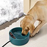 NAMSAN Dog Heated Water Bowl Heat Drinker for Poultry with Anti-Bite Resistant Cable(165 CM) No Freezing Water Bowl for Dog/ Cat/ Rabbit/ Chickens