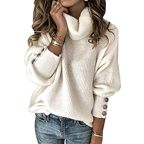 Oversized Cable Knit Jumper Women Turtle Neck Jumpers For Women Ladies Baggy Fluffy Knitted Jumpers Womens High Neck Sweater For Women Pullover Sweaters Pullovers Thick Plain Loose Plus Size White 2XL