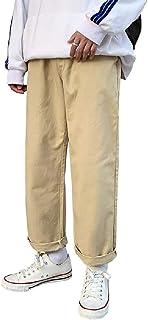 CRYYU Men's Elastic Waist Solid Big & Tall Straight Leg Loose Pants Trousers