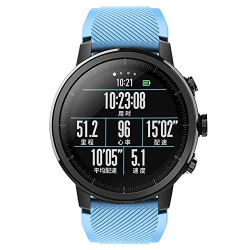 DIPOLA Correa de Correa de Reloj Deportivo Suave de Silicagel para Reloj Inteligente Amazfit Stratos 2S—Azul Claro