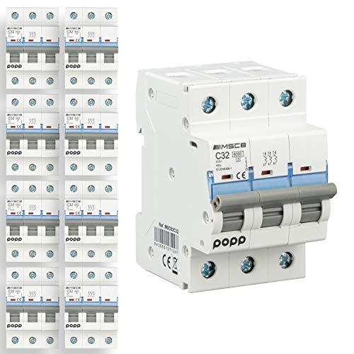 POPP Interruptor Automático Magnetotérmico 3P serie MSC83 gama Industrial CURVA C corte 6000A 6A,10A,16A,20A,25A,32A,40A,63A Pack 4,8 (32A, Pack 8)