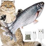 Katzenspielzeug Elektrisch Fischs,interaktives zappelnder Fisch Spielzeug für Katzen USB Elektrische Plüsch Fisch Spielzeug Fisch mit Katzenminze für Katze zu Spielen,Beißen,Kauen und Treten