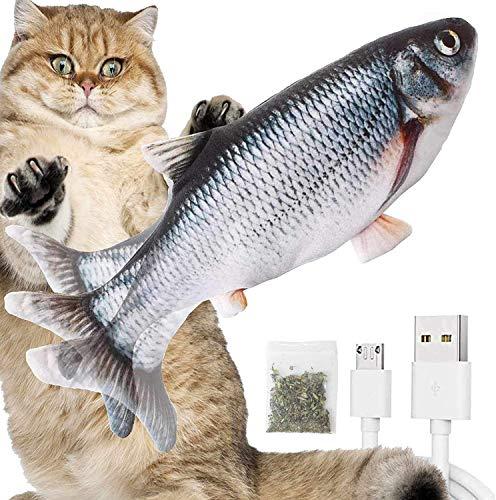 Rcoko Katzenspielzeug Elektrisch Fischs,interaktives zappelnder Fisch Spielzeug für Katzen USB Elektrische Plüsch Fisch Spielzeug Fisch mit Katzenminze für Katze zu Spielen,Beißen,Kauen und Treten
