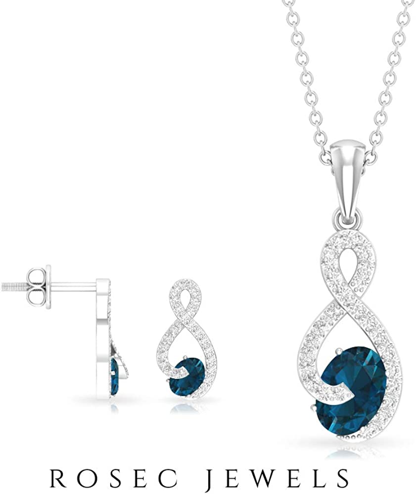 1.92 CT London Blue Topaz Earring and Necklace Set, Diamond Infinity Jewelry, Oval Cut Blue Gemstone Stud, Birthstone Pendant Charm Gold (AAA Quality)