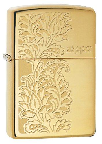Zippo Paisley Design, Accendino Tascabile Antivento Unisex-Adulto, Ottone Lucido, Taglia Unica