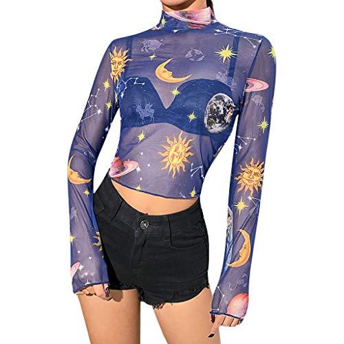 WHSHINE Frauen Langarm Drucken Casual Rollkragen Bluse Top Pullover Shirt Damen Long Sleeve Stehkragen Short Kleiner Engel Print Crop Tops