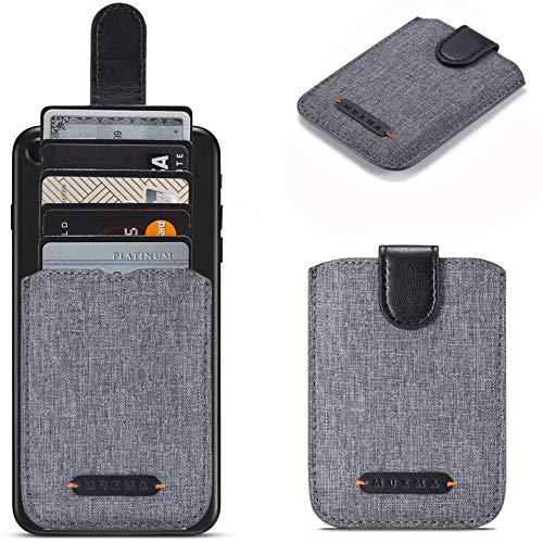 Card Holder for Back of Phone RFID 5 Pull Credit Card Cash Cell Wallet Pocket Canva Leather Case for Smartphones (Black)
