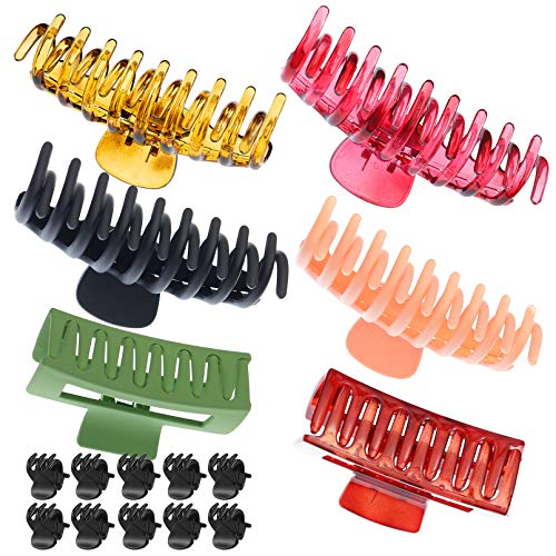 RechicGu 16pcs Big Large Hair Clips Claw Tortoise Shell Hair Pins Clamp Accessories for Women and Girls Nonslip Strong Hold for Thick Hair