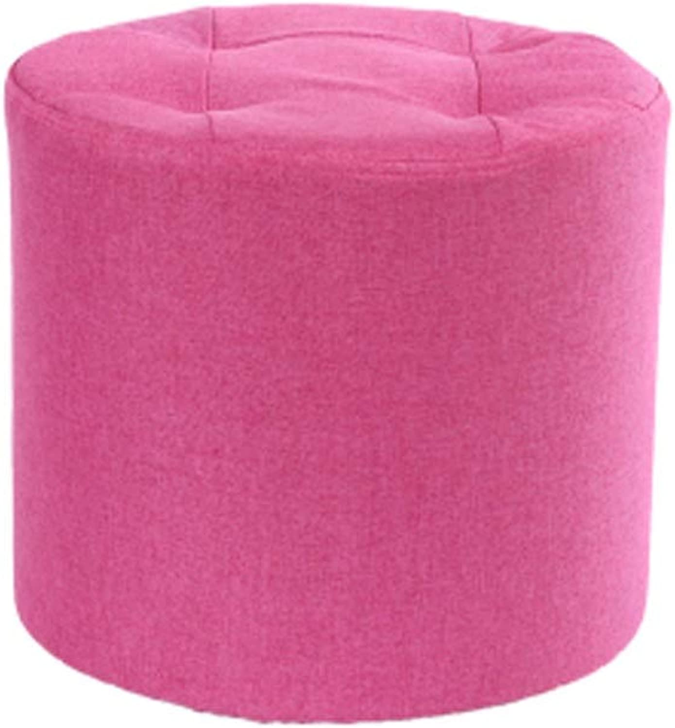 LLSDLS Solid Wood Stool Creative Modern Minimalist Sofa Stool Fashion Fabric Stool Coffee Table Stool Home Adult Small Bench. (color   Pink)