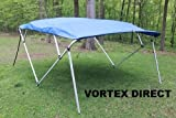 Vortex Royal Blue Square Tube Frame 4 Bow Pontoon/Deck Boat Bimini TOP 12' Long, 91-96' Wide 1 to 4 Business Day DELIVERY