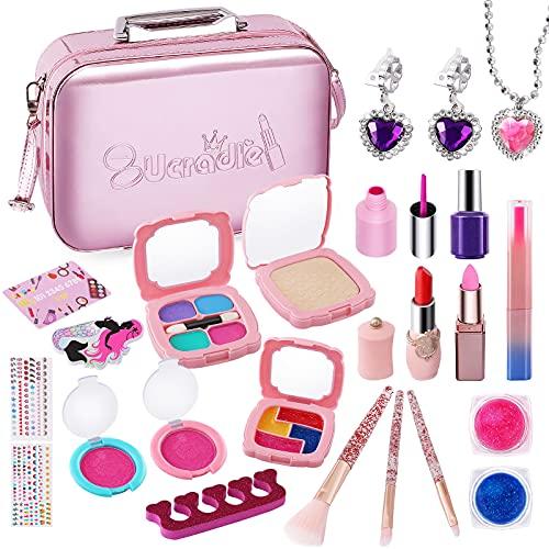 Ucradle Kinderschminke Set Mädchen, 26Pcs Waschbar Makeup Spielzeug Set für Kinder, Lippenstift Nagellacke Schminkset Kosmetiktasche mit Langen Riemen, Geschenke für Mädchen 5 6 7 8 Jahre