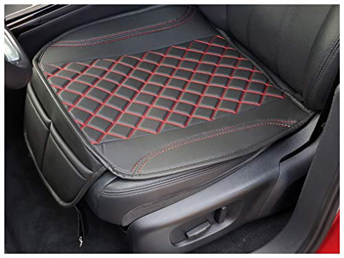 Sitzauflage Kunstleder Schwarz mit Roten Nähten passend für Jeep Wrangler JL Sitzbezüge Auto Sitzauflage Sitzkissen OT402
