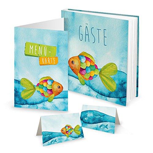 Logbuch-Verlag SET Gästebuch Kinder Fisch 10 Menükarten 25 Tischkarten Regenbogenfisch Taufe...