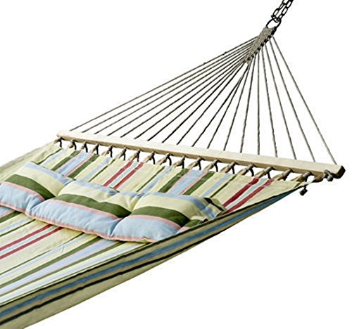 With Heavy Duty Fabric Hammock Pillow Double Size Spreader Bar Patio Bed