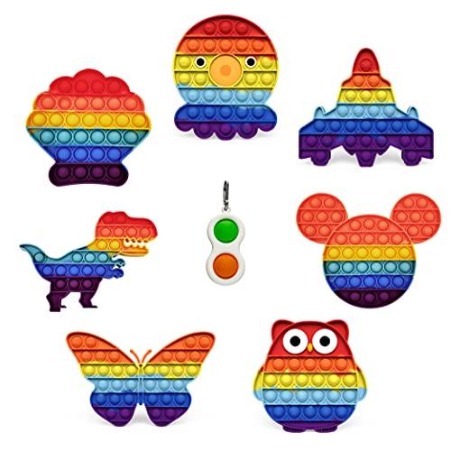Pop It Fidget Toy Anti Stress Enfant et Adulte - Fidget Toys Pack Objet Anti Stress Anxiété - Popit Jeux Push Pop Bubble (Lot de 7)