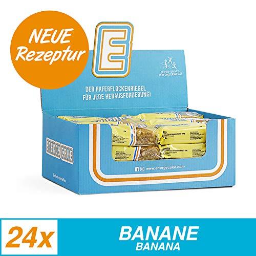 Energy Cake - Energie Ausdauer Riegel für Sportler, hochkalorisch mit Protein & weniger Zucker - einzigartiger Haferflocken Sattmacher & Fitnesssnack - Banane 24x 125g (3kg)