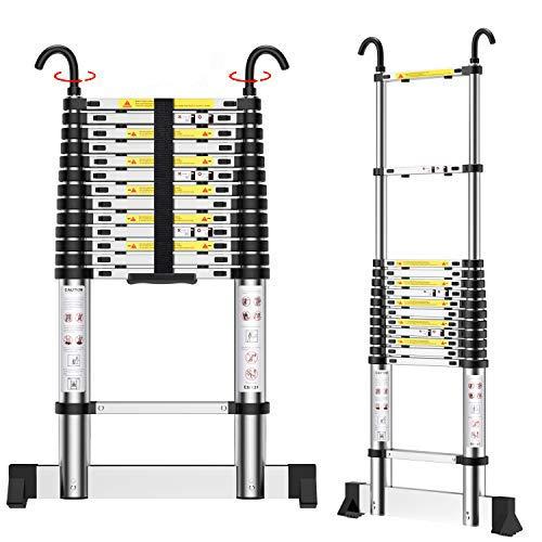 Teenza® Echelle Telescopique 4,9m En Alliage D'Aluminium, Echelle Pliante, Crochet Stabilisateur, Charge De 150 Kg, Norme EN131