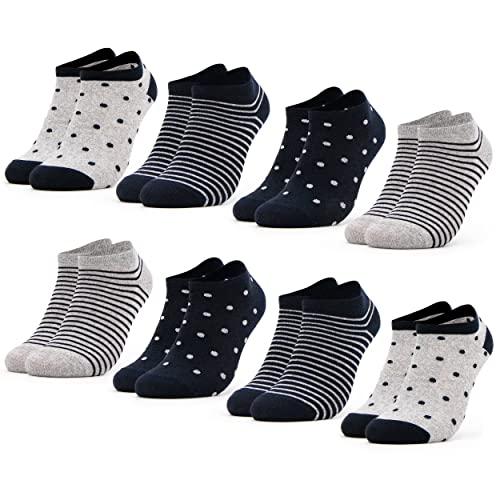 Occulto 8 Paar Damen Sneakersocken Füßlinge mehrfarbig mit Streifen und Punkten 35-38, Navy