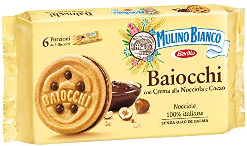 Mulino Bianco Biscotti Baiocchi con Crema alla Nocciola e Cacao per Colazione e Snack Dolce per la Merenda, 6 Porzioni da 6 Biscotti